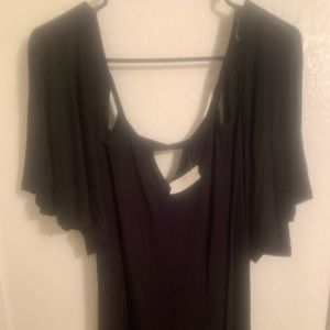 Black cut out shirt